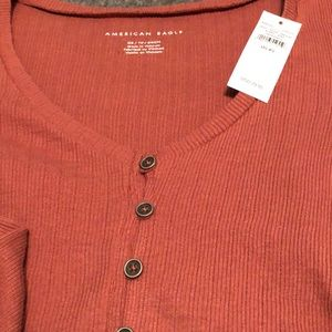 American Eagle Outfitters Tops - American Eagle tan/red long sleeve XSmall